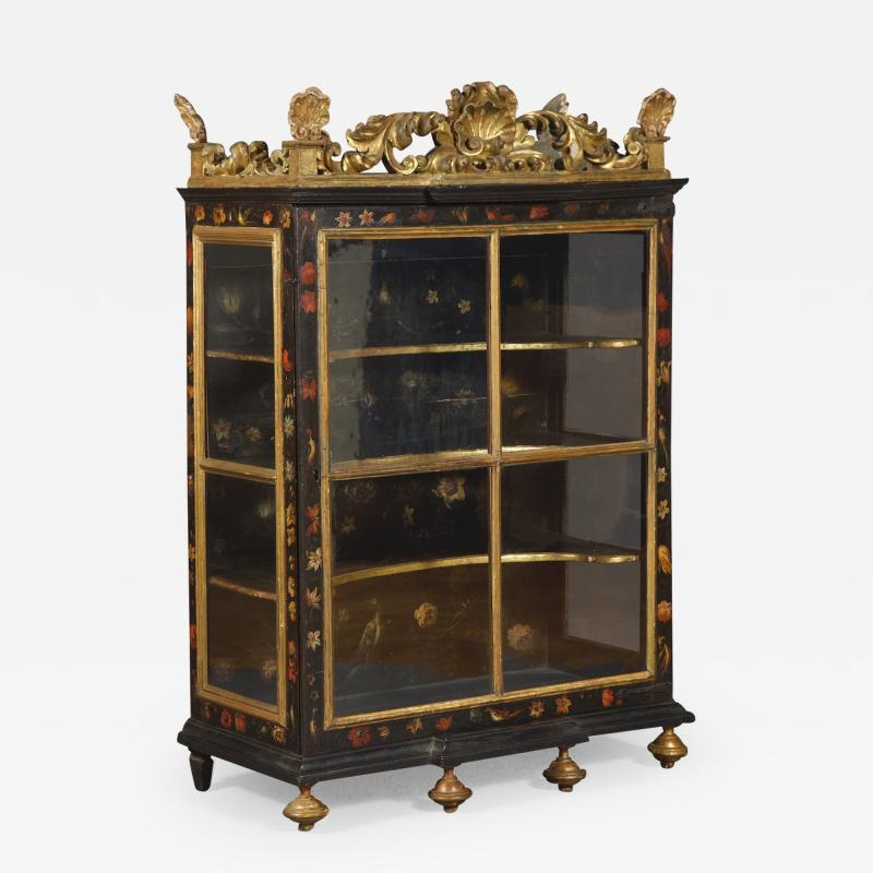 Polychrome Parcel Gilt Hanging Wall Cabinet With Floral Exotic Bird Decoration