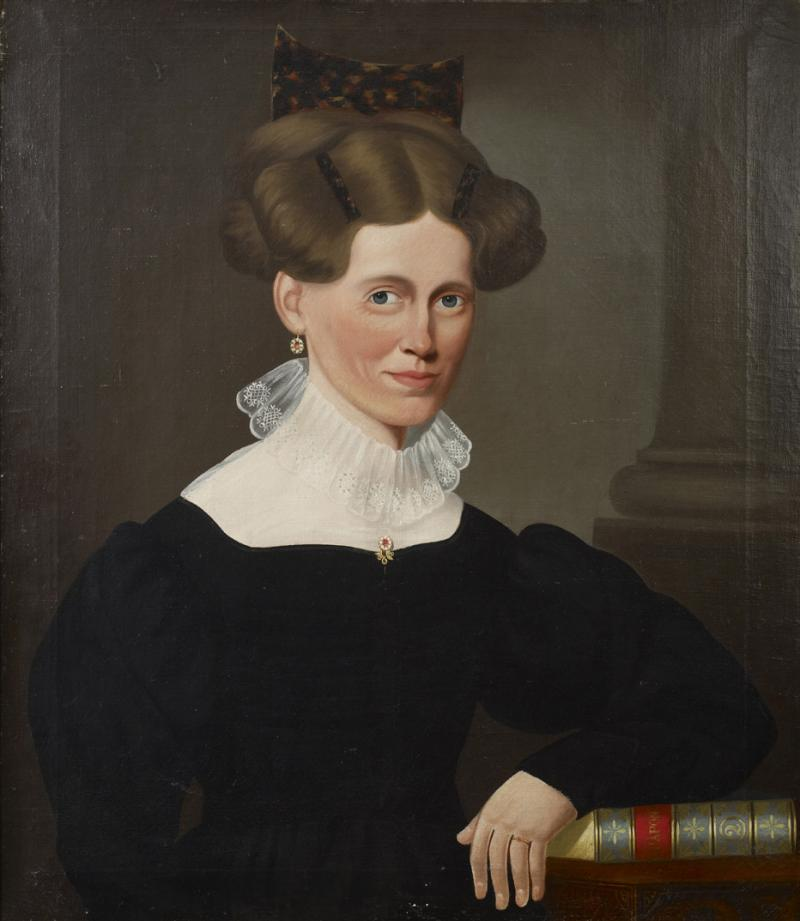 Portrait of a Woman Wearing a Tortoise Shell Comb Holding a Book by Chapone