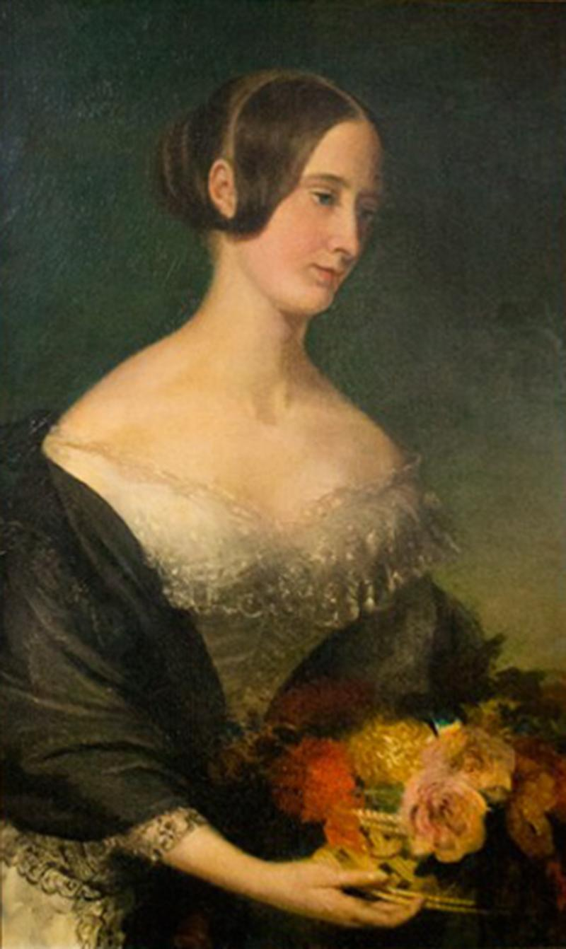 Portrait of a Young Lady with Flowers Early 1800s Oil on Canvas