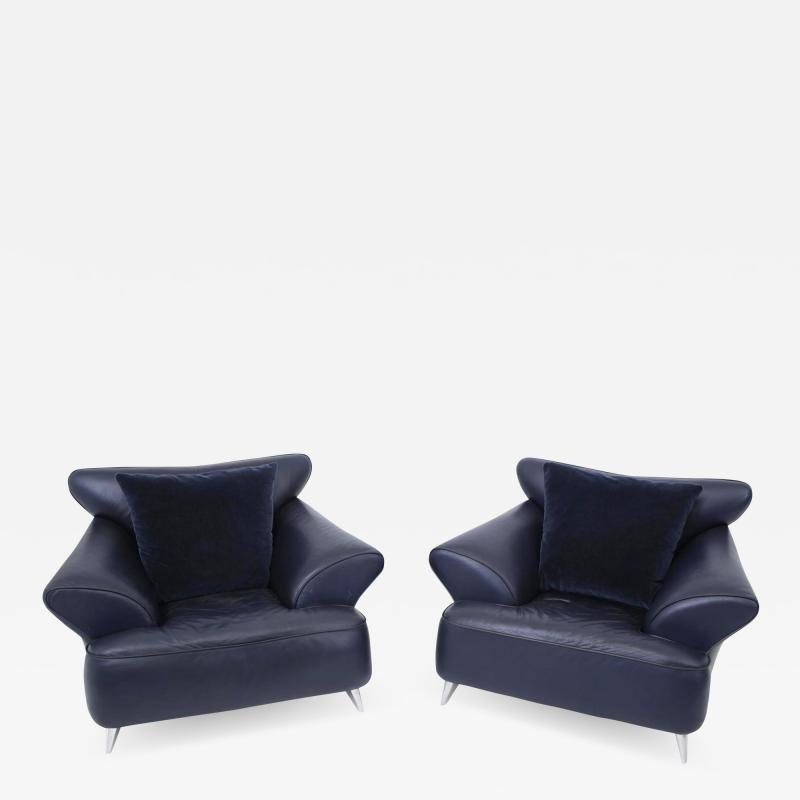 Postmodern Leather and Mohair Lounge Chairs Polished Aluminum Legs circa 1988