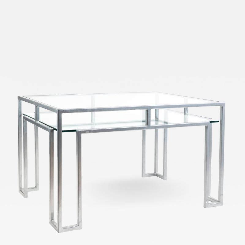 Postmodern steel glass coffee table