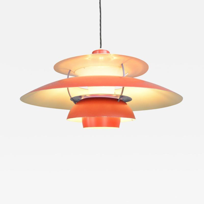 Poul Henningsen 1959 Red Model PH5 Pendant Light By Louis Poulson
