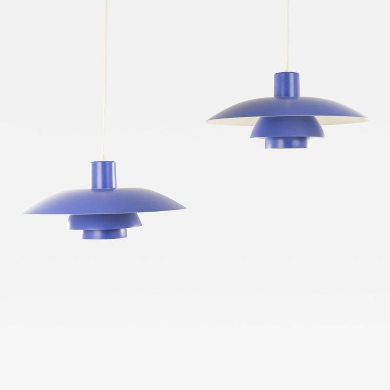 Poul Henningsen Pair of Blue PH 4 3 pendants by Poul Henningsen for Louis Poulsen 1960s