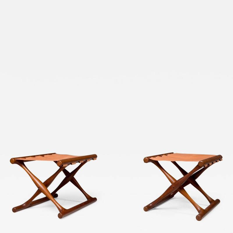 Poul Hundevad Pair of Folding Stools by Poul Hundevad 1950s