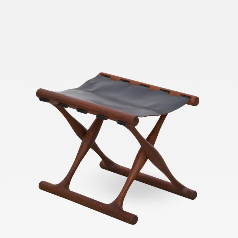 Poul Hundevad Signed Guldhoj Teak and Leather Folding Stool by Poul Hundevad for Vamdrup