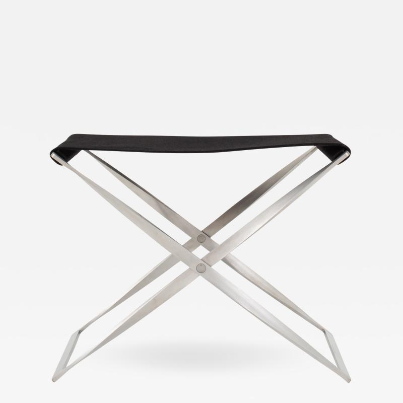 Poul Kj rholm PK 91 Folding stool in black canvas