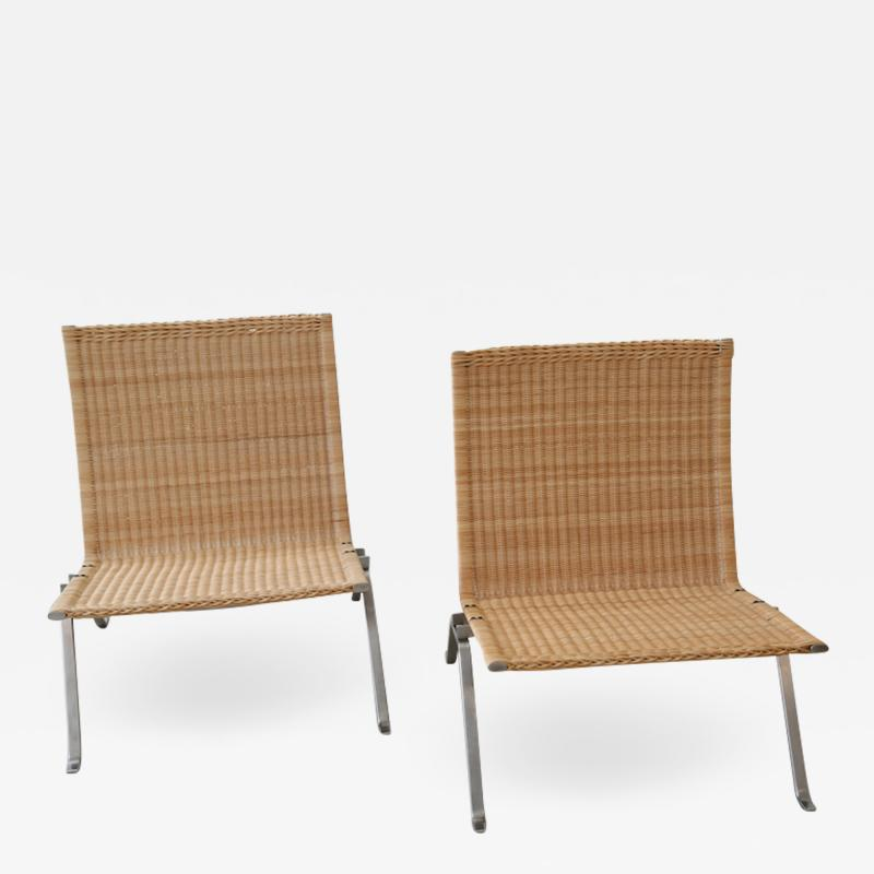 Poul Kj rholm Pair of PK 22 Poul Kjaerholm Danish Mid Century Modern Wicker Lounge Chairs