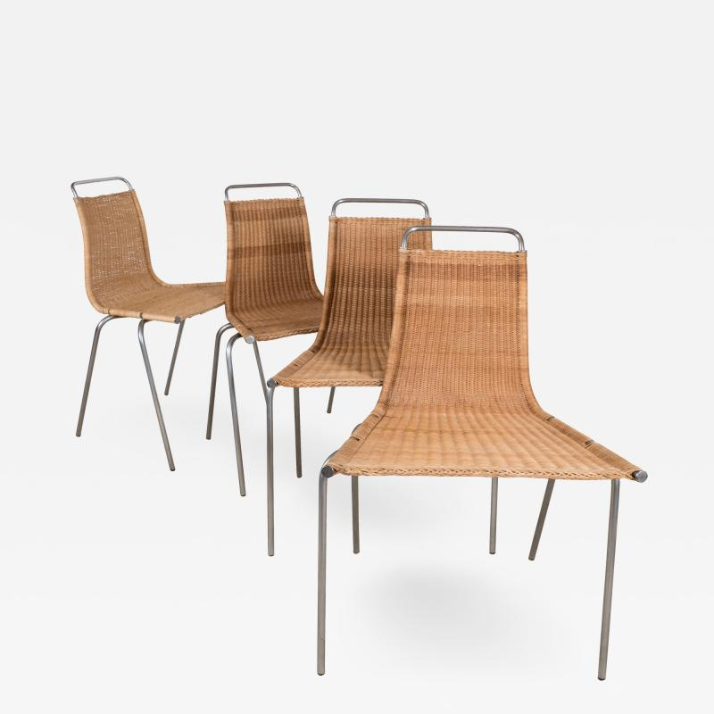 Poul Kj rholm Set of Four Poul Kjaerholm E Kold Christiansen PK1 Wicker Chairs
