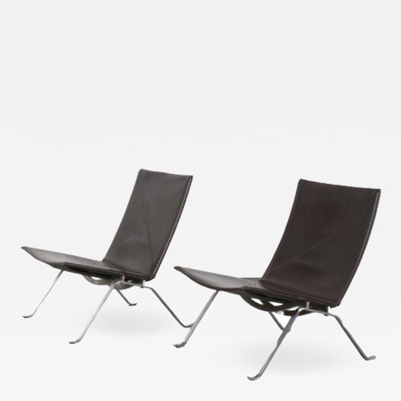 Poul Kjaerholm Pair of PK22 Lounge Chairs by Poul Kjaerholm for Fritz Hansen Denmark 1960