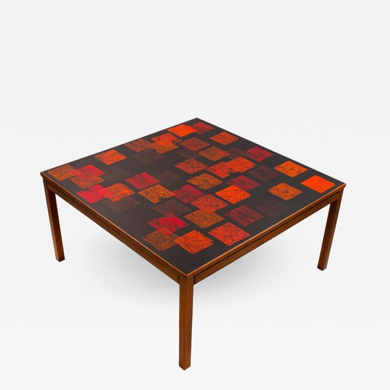 Poul Torneman Nordiska Kompaniet Teak Coffee Table with Enamel Top by Poul Torneman
