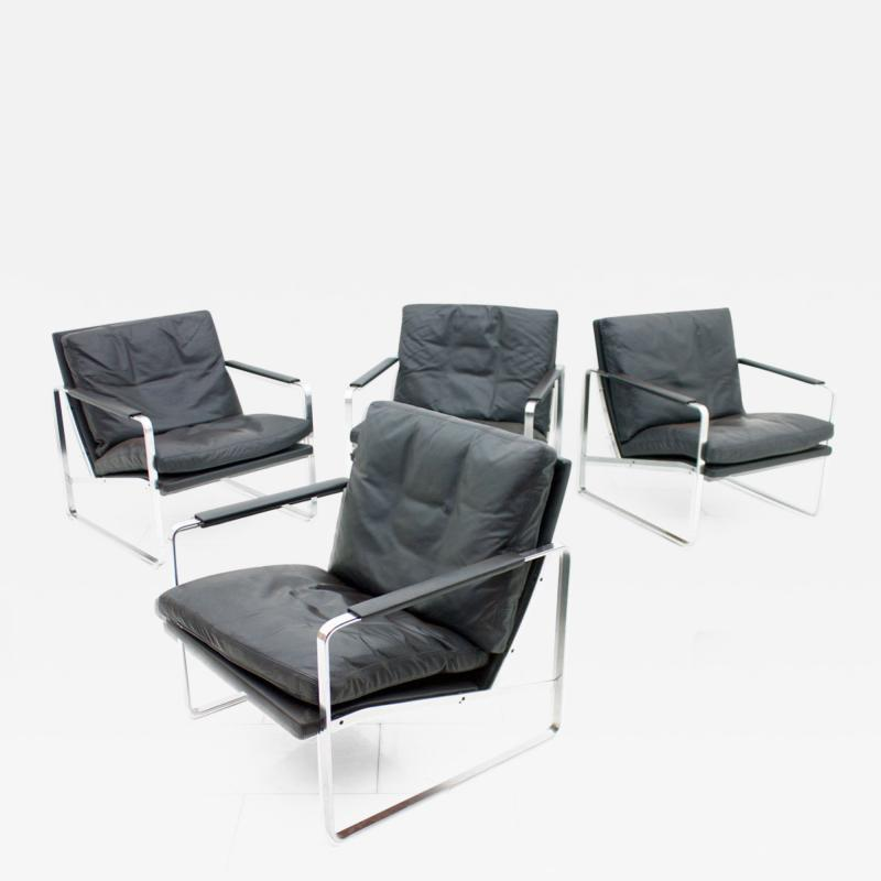 Preben Fabricius Set of Four Preben Fabricius Lounge Chairs in Black Leather by Walter Knoll 1972