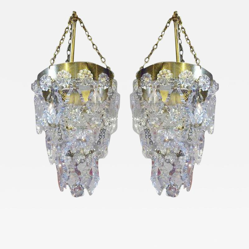 Precious Pair of Louis XV Style French Bronze and Crystal Pendant Lights