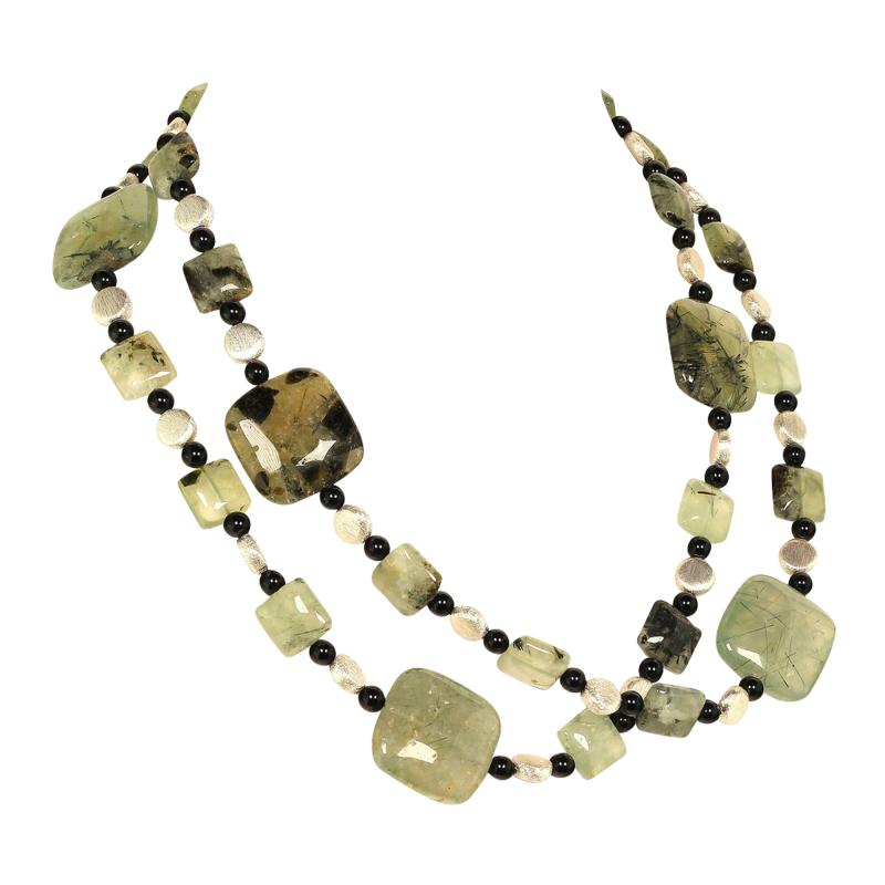 Prehnite Statement Necklace with Silver accents