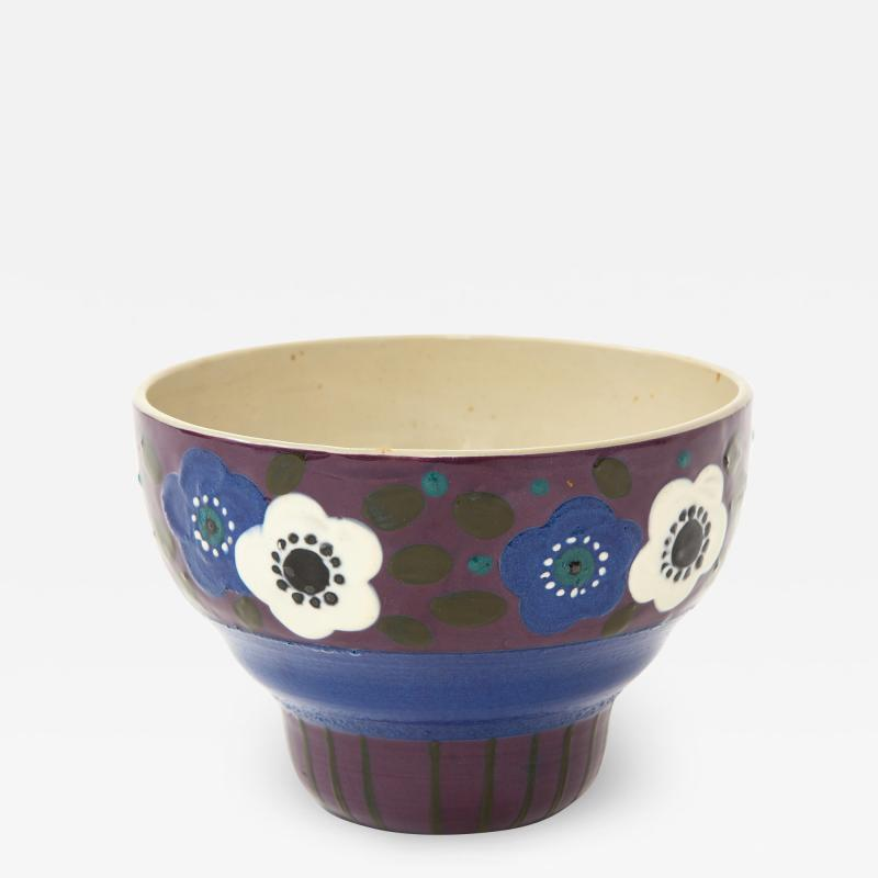 Primavera Atelier du Printemps Primavera Blue Purple and Cream Ceramic Bowl in the Style of Sue et Mare