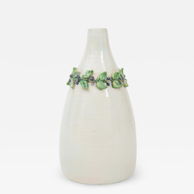 Primavera Atelier du Printemps Primavera White Ceramic Soliflore Vase Signed by Louise Chevallier