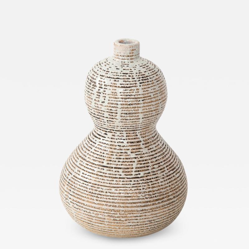 Primavera Atelier du Printemps Primavera gourd shape vase with horizontal lines