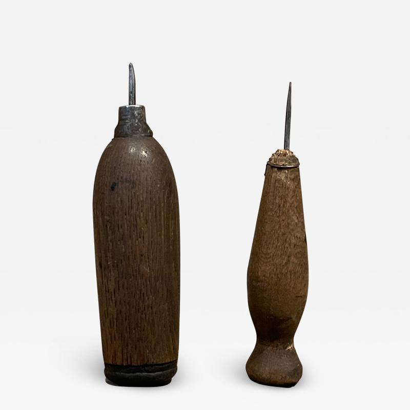 Primitive Wood Ice Pick Tools Weathered Worn Antique Ice Box Utensil