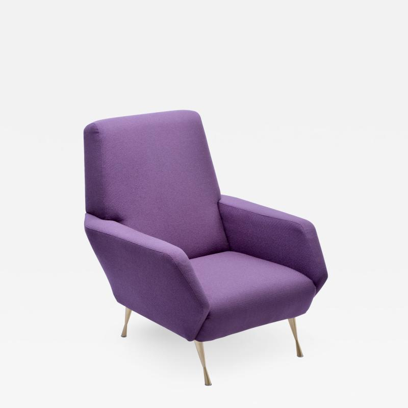 Purple 1950s Reupholstered Italian Lounge Chair
