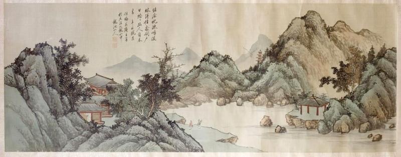 QiaoNian Zhou Framed Antique Chinese Landscape Ink Painting Zhou QiaoNian Qing Dynasty