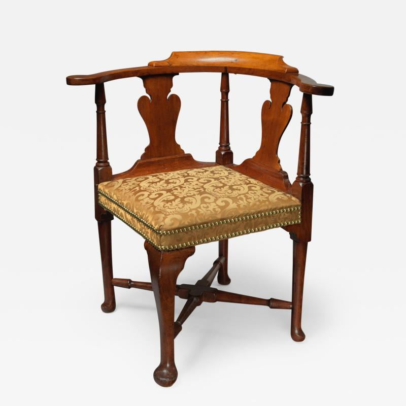 Queen Anne Pad Foot Corner Chair Salem Massachusetts Circa 1755