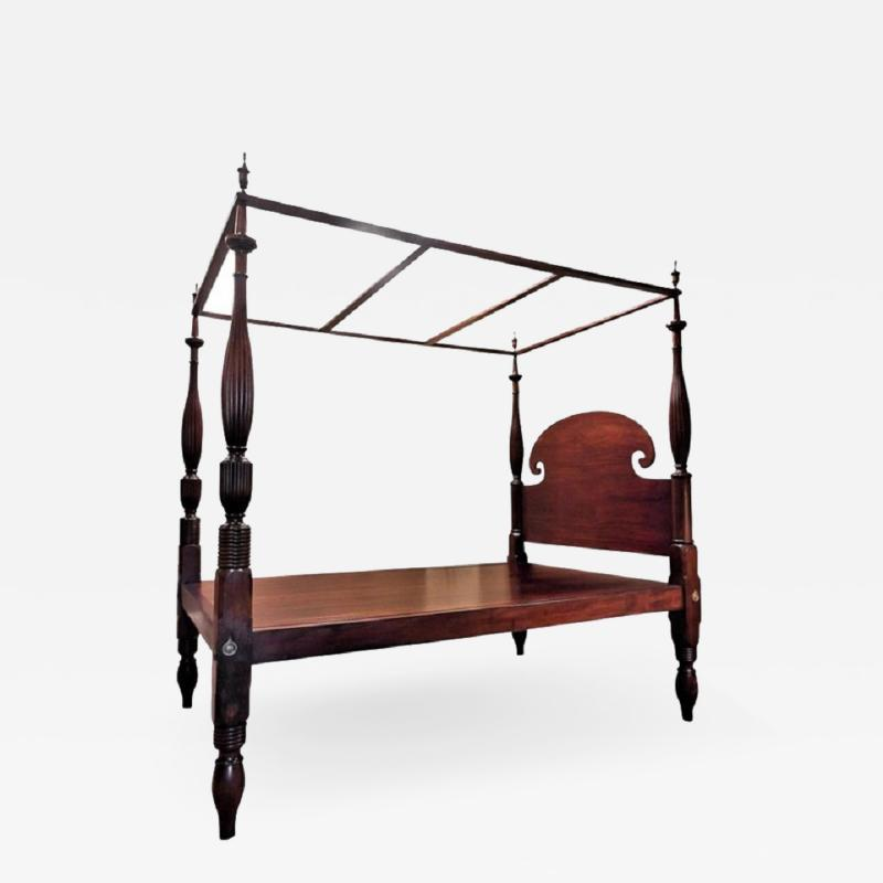 Queen Size Federal Mahogany Canopy Bed