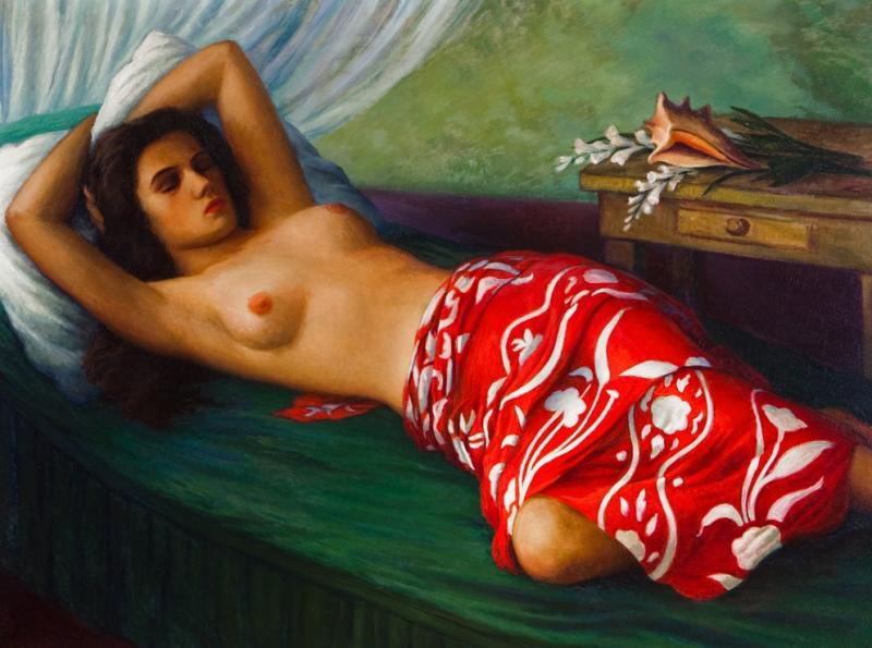 R A D Robert Alexander Darrah Miller Girl in the Pareu