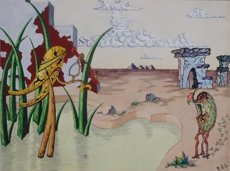 R E Schwelke Surrealist Landscape Watercolor Signed R E Schwelke and Dated 1947