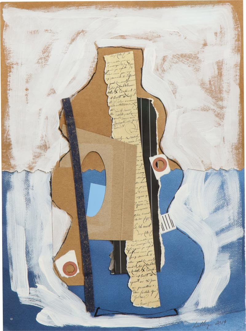 R Scott Lalley R Scott Lalley Gourd Vase 2014 Acrylic Paint Ink and Paper Collage