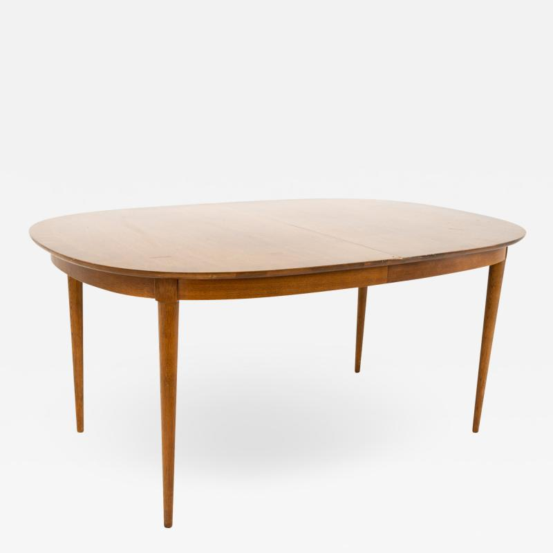 R Way Mid Century Walnut Inlaid Rounded Oval 10 Person Dining Table