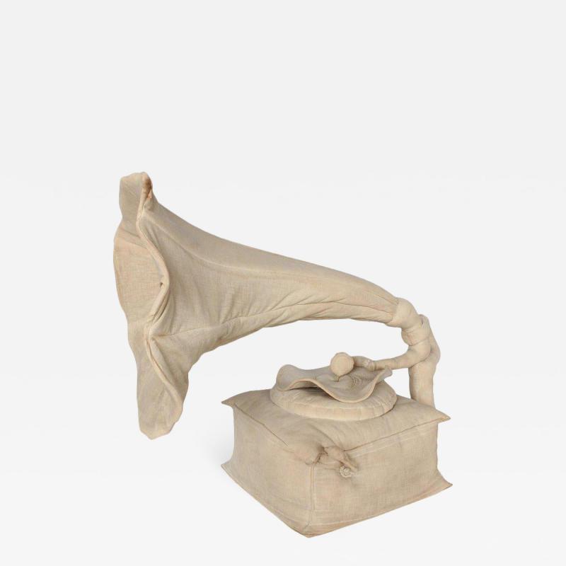 RARE 20TH CENTURY 3D CANVAS SCULPTURE OF GRAMOPHONE