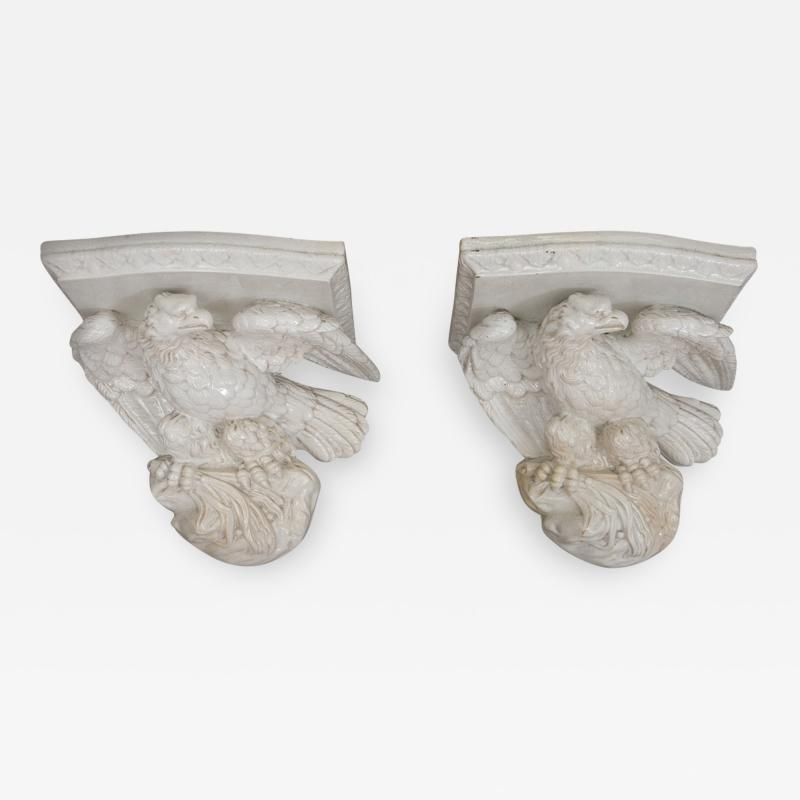 RARE PAIR OF POTTERY EAGLE BRACKET SHELVES