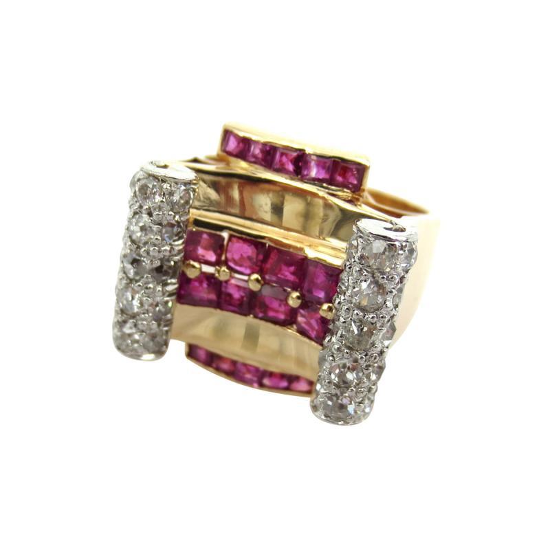 RETRO 1940S PINK GOLD DIAMOND AND RUBY GEOMETRIC RING