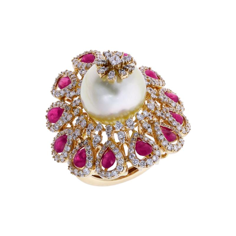 RUBY AND PEARL BLOOMING FLOWER RING WITH DIAMONDS