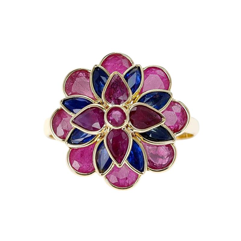 RUBY AND SAPPHIRE FLORAL RING 18K YELLOW GOLD
