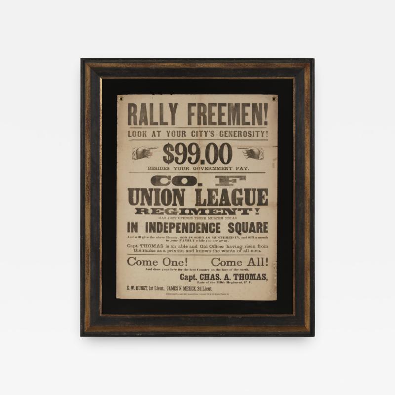 Rally Freemen Civil War Recruitment Broadside