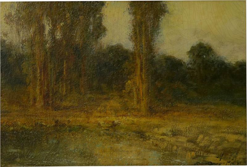 Ralph Davison Miller Trees by a Pool Oil Landscape Painting by Ralph Davison Miller CA 1858 1945