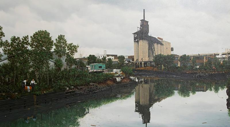 Randy Dudley Oil on Canvas by Randy Dudley titled 4th St Basin Gowanus Canal