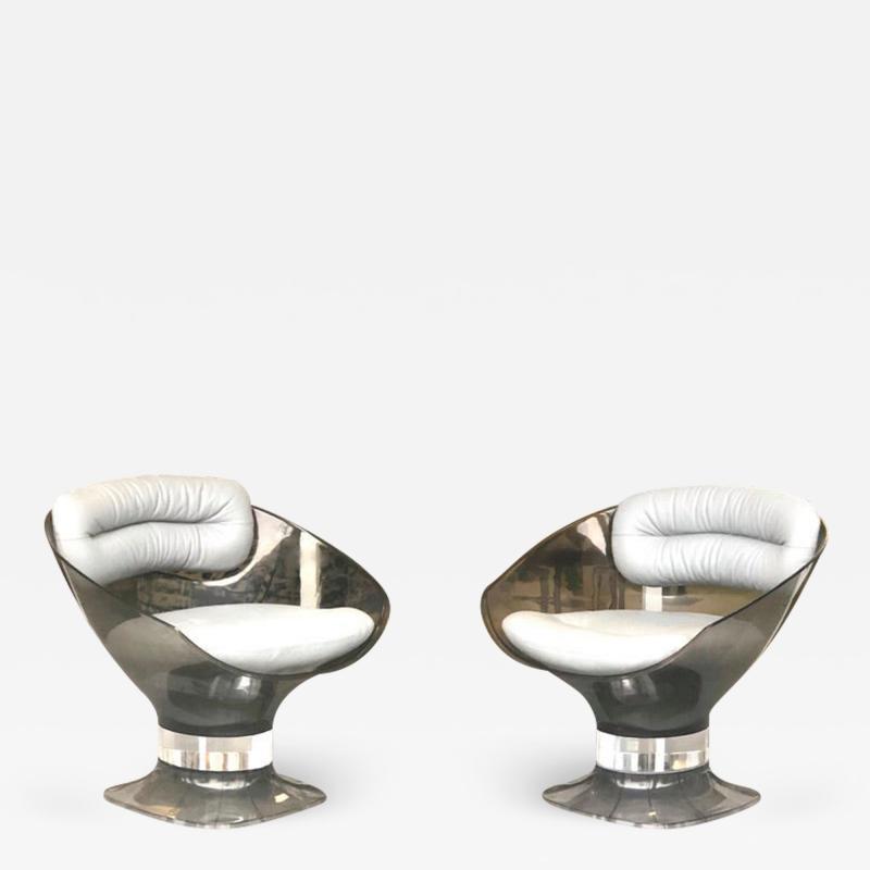 Raphael Raffel Raphael Raffel Pod Bronze Acrylic Pair of Chairs with Light Gray Leather Seats