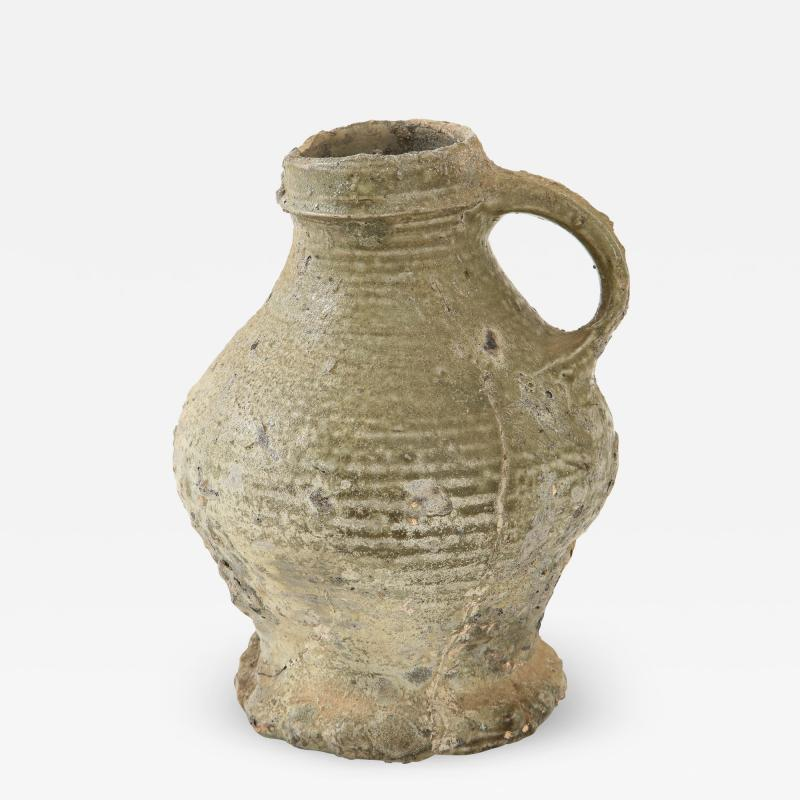 Rare 17th C German Low Countries Grey Ceramic Pitcher