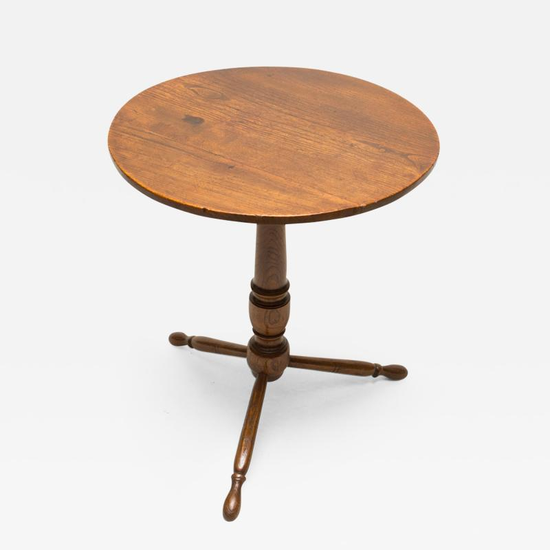 Rare 18th Century English Elm Turned Leg Table