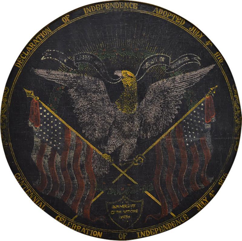 Rare Antique 1876 Patriotic Centennial Celebration Painting