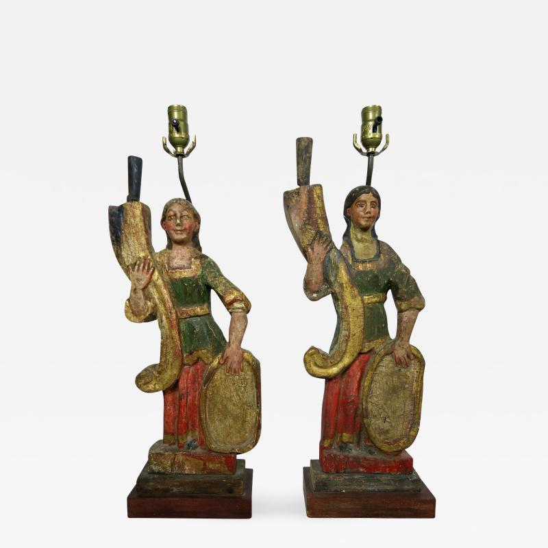 Rare Carved 18th 19th Century Italian Polychrome Candelabra Table Lamps
