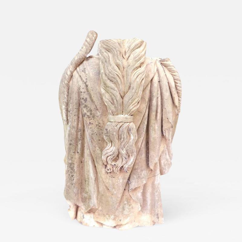 Rare Early 19th Century English Coade Stone Statue Torso of a Soane Caryatid