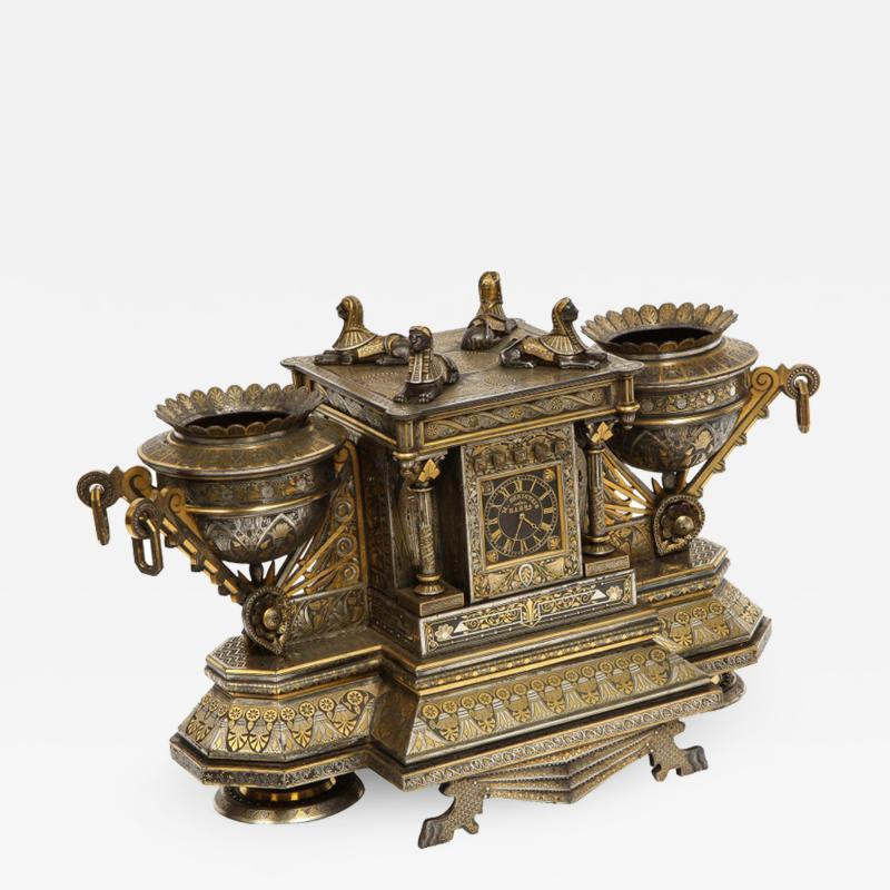 Rare Important Spanish Damascene Iron Steel Gold Inlaid Clock Eibar Spain
