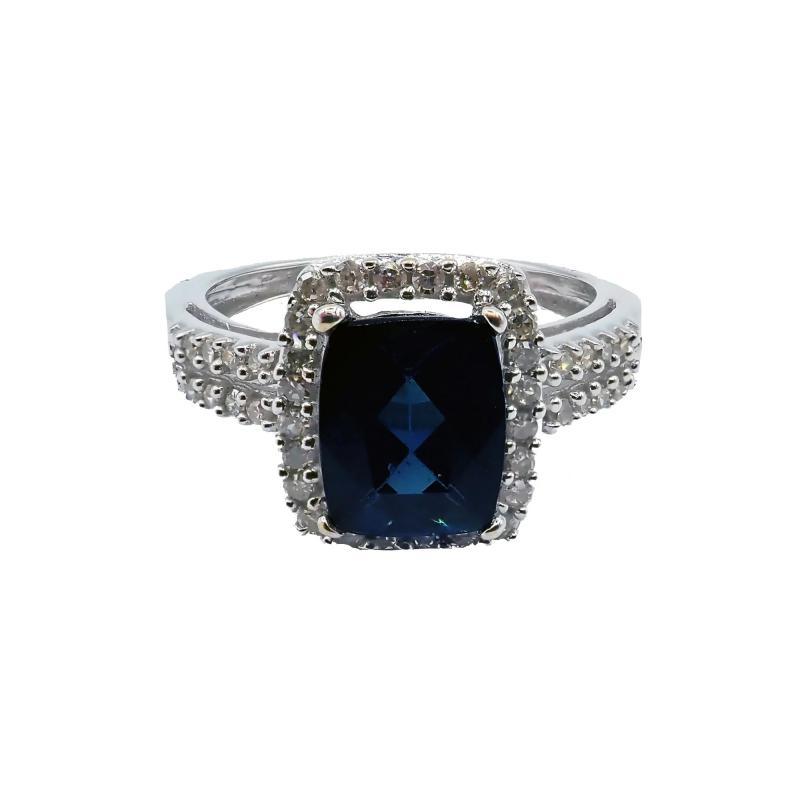 Rare Indicolite Blue Tourmaline and Halo Diamond Ring in 14KT White Gold