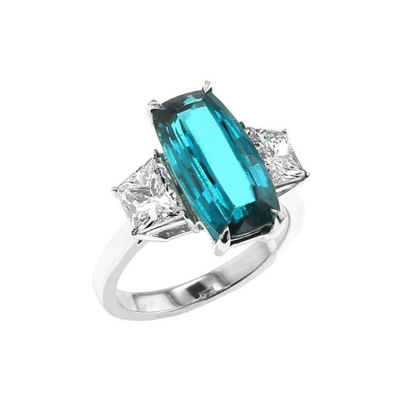 Rare No Heat 4 Carat Brazilian Paraiba Tourmaline and Diamond Three Stone Ring