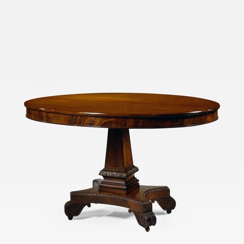 Rare Oval Carved Mahogany Library Table