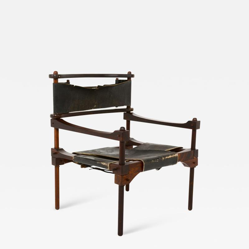 Rare PERNO Chair Distressed Leather Safari Lounge by Don Shoemaker