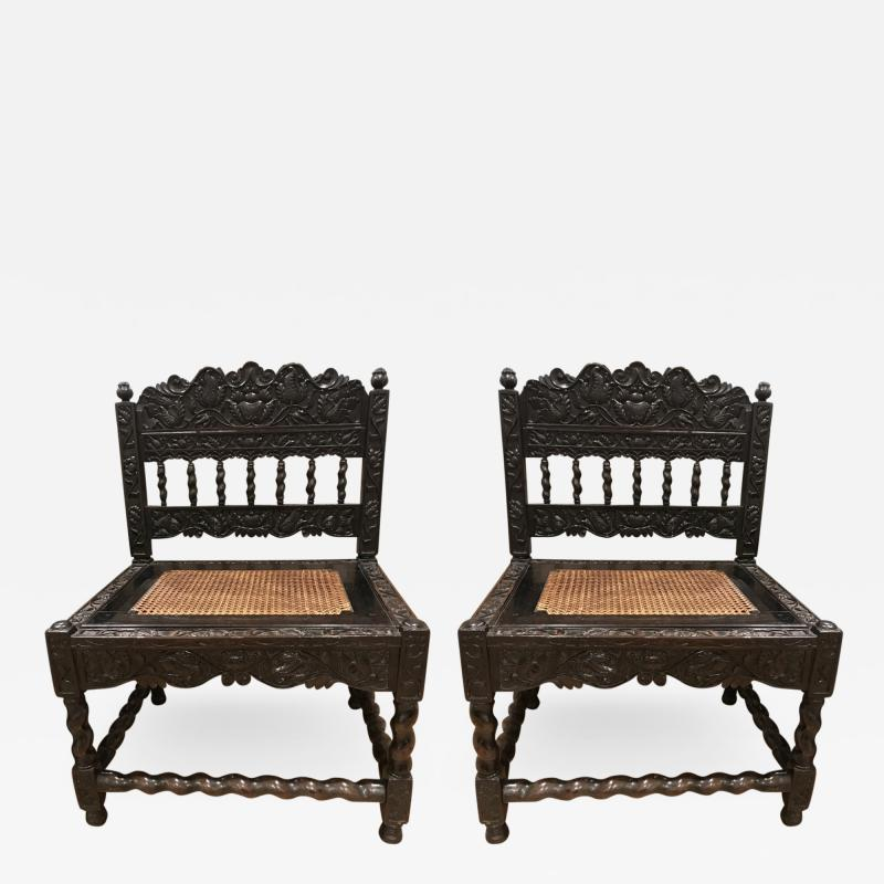 Rare Pair Indian Carved Ebony chairs