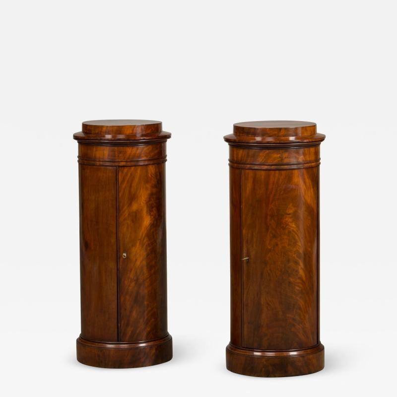 Rare Pair of Round Late Empire Pedestal Cabinets